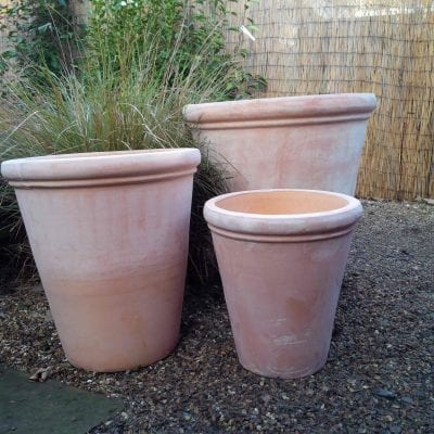 Large tall terracotta pot with rim detailing