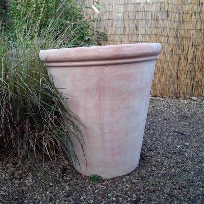 Large tall plain rimmed terracotta pot