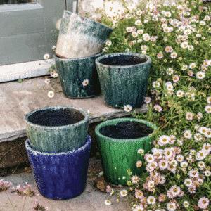 Patterned Indoor Pot BlueGreens